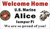 Alice Graphics 3ftX5ft Custom Personalized U.S. (US) Marine Corps (USMC) Welcome Home Banner Sign