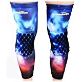 COOLOMG (Pair) Basketball Knee Pads For Kids Youth Adult Nebula Galaxy NASA Long Leg Knee Sleeves Protector Gear EVA NASA X-Small
