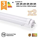 2 x Brite Source LED T8 Fluorescent Tube Replacements ([6000k] - Daylight, 4ft - 18w - 1200mm [36w Replacement])