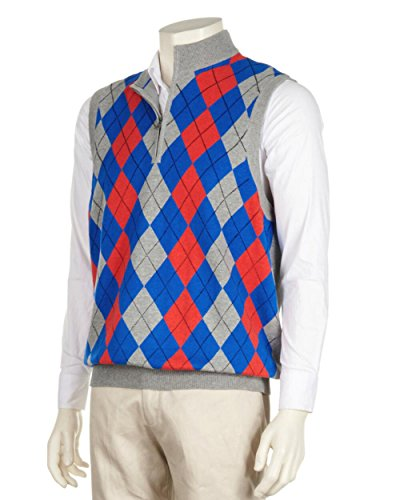 Greg Norman Men's Argyle 1/4 Zip Mockneck Sweater Vest (2X-Large, Bullseye Heather) ()