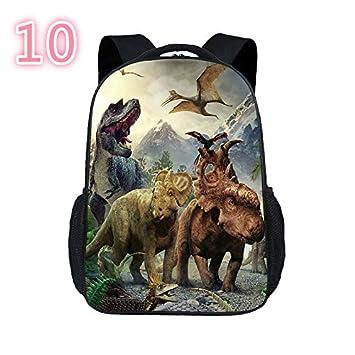 Bellecita Bolso de la Escuela de la Mochila de la Lona del Dinosaurio de la Mochila de la Impresión de los Animales 3D(Estilo 10): Amazon.es: Jardín
