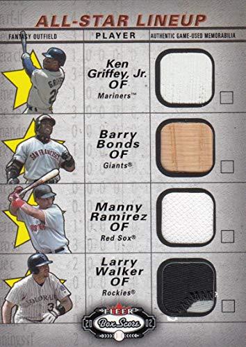 2002 Fleer Box Score All Star Lineup Game Used #NNO Ken Griffey Jr./Barry Bonds/Manny Ramirez/Larry Walker NM-MT MEM