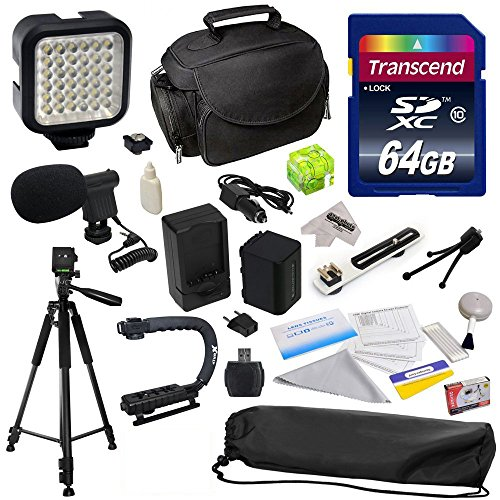 "Advanced Accessory Kit for Sony MC50, NX30, NX70, TD10, TD20, TD30, HC9, VG10, VG20, VG900, AX100 Video Camera Camcorder Includes 64GB High Speed Memory Card + Card Reader + Opteka NP-FV70 2500mAh Ultra High Capacity Li-ion Battery + Battery Charger + Deluxe Padded Carrying Case + Professional Photo / Video 60"" Tripod + Professional Grip Stabilizing Action Handle + High Power 36 Pin LED Video Light + Directional Mini-Shotgun Microphone + Hot Shoe Spirit Level + Flash Bracket + Cleaning Kit with from 47th Street Photo"