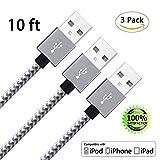 ZTeanok Cable, Nylon Braided Cord Charger for iPhone 7/7 Plus/6/6 Plus/6S/6S Plus, SE/5S/5, iPad, iPod Nano 7 (3m) - Grey - 3 Piece