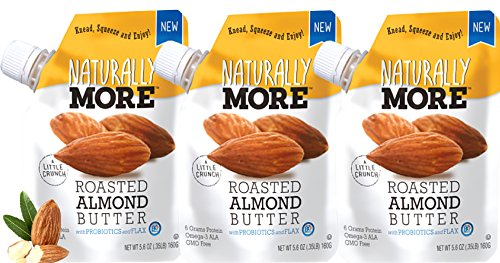Naturally More Almond Butter - 100% All Natural Probiotic Infused + Flaxseeds - Delicious Roasted Almond Taste On The Go! Gluten Free - Peanut Free - Vegan -Travel Size Snack Packets (3 Pack) by Naturally More