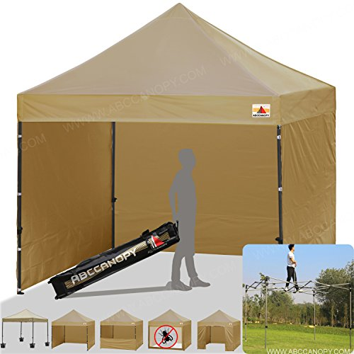 ABCCANOPY Beige 10 X 10 Ez Pop up Canopy Tent Commercial Instant Gazebos with 6 Removable Sides and Roller Bag and 4x Weight Bag