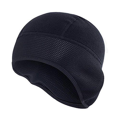 Windproof Men Fleece Winter Outdoor Beanie Hat Cycling Running Black Ear Warm