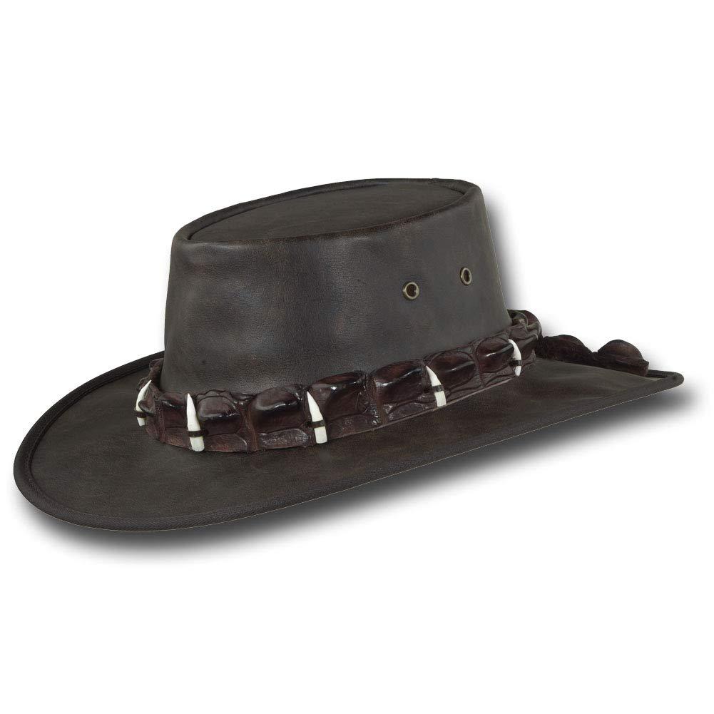Barmah Hats Vintage Kangaroo Leather Hat - Item 1018 (Large, Vintage Crocodile)
