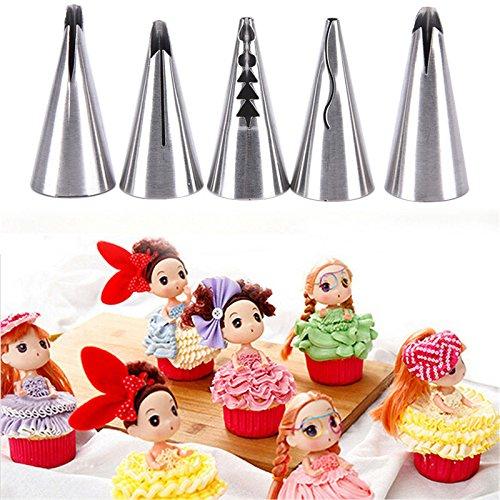 WENHAI 5pcs/set Russian Icing Piping Nozzles Tips Cake Decoration Home Baking DIY Pastry Decorating Tools
