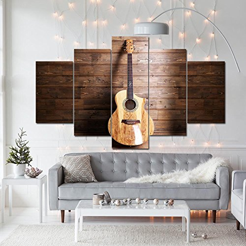[LARGE] Premium Quality Canvas Printed Wall Art Poster 5 Pieces / 5 Pannel Wall Decor Acoustic Guitar on Wood Painting, Home Decor Pictures - With Wooden Frame