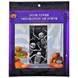 Creepy Halloween Haunted House Spooky Skeleton Door Cover (30'' x 72'') with Bonus Skeleton Window Cover (30'' x 48'') Decor