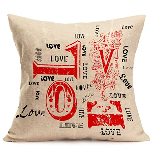 2017 Valentine's Day Pillow Case,Elevin(TM)New Lovers Painting Square Linen Cushion Cover Throw Waist Pillow Case Sofa Bedroom Home Decor Good Valentine's Gift (H)