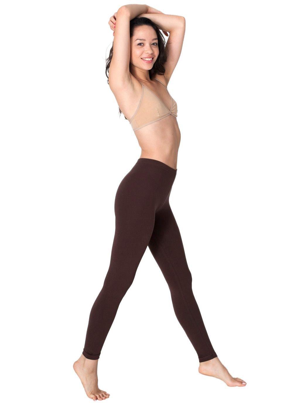 American Apparel Cotton Spandex Jersey Legging, Brown, Large