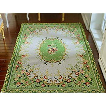 1//12 Elegant Beautiful Red Roses Floral Royal Dollhouse Miniature Lace Rug