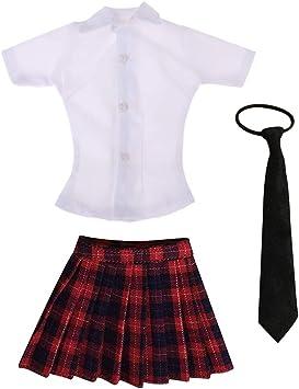 Amazon.es: IPOTCH Sets de Camisa Blanca y Minifalda a Cuadros ...