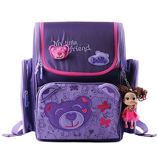 Delune Girl's School bag Cartoon Large Capacity Orthopedic backpack(Bear&Purple) (Backpack School Orthopedic)