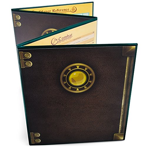 Stratagem The Master's Tome 4-Panel Customizable GM Screen with Free Inserts - Dry Erase, Dungeon & Game Master Accessory for Tabletop RPG Campaigns (Green)