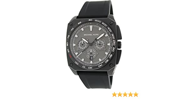 d7dda3cb176b Amazon.com  Michael Kors Grandstand Chronograph Black Sandblasted Dial  Black Silicone Mens Watch MK8390  Michael Kors  Watches