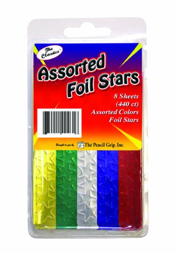 Pencil Grip The Classics Foil Stars Stickers, Assorted Colors, 48 Sheets per Pack, Total of 2640 Stickers, Assorted Metallic Colors (TPG-46106)