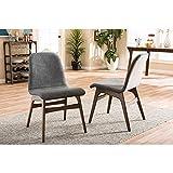 Baxton Studio 2 Piece Embrace Scandinavian Style Fabric Upholstered Walnut Dining Chair Set