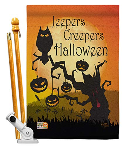 Breeze Decor HS112008-BO Jeepers Creepers Fall Halloween Decorative Vertical House Flag Set, 28