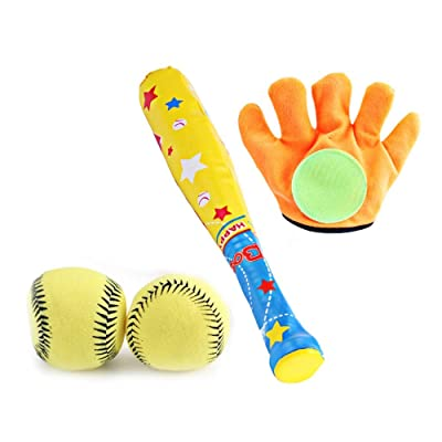 Outdoor Baseball Bat Glove and Soft Ball Safety Training Baseball Bat Toy Colorful Sports Toy Set for Kids Childrens Toddler Boy Gifts (Multi): Toys & Games