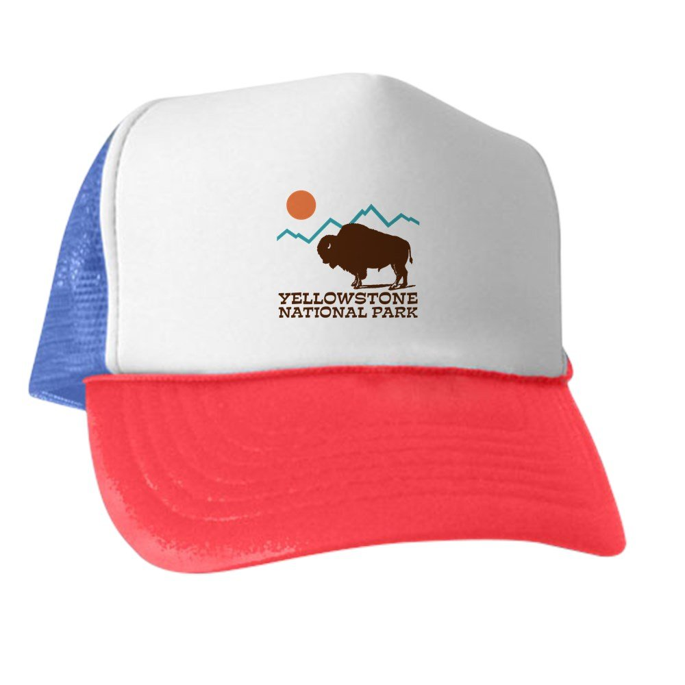 82f317af Amazon.com: CafePress - Yellowstone National Park - Trucker Hat, Classic Baseball  Hat, Unique Trucker Cap Black/White: Clothing