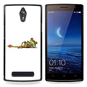 BullDog Case - FOR Oppo Find 7 X9007 - White Frog Titanic Posing Minimalistic Cute - Dise???¡¯???¡Ào para el caso de la cubierta de pl???¡¯????stico Ch