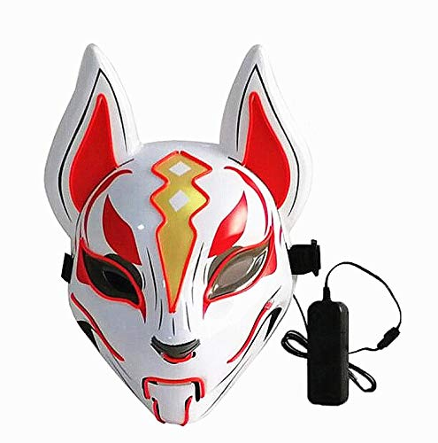Moonideal Led Light UP Game Fox Mask | Neon Line Halloween Mask | Sound Induction Mask Controller | Flash with Music 4 Different Mode (red)