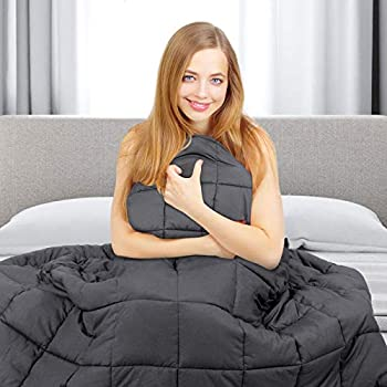 Image of Nova Microdermabrasion Weighted Blanket (60x80 Inches, 20lbs for 150-200lb Individual, Dark Grey) Heavy Blanket for Adults, Children   Premium Cotton with Glass Beads Nova Microdermabrasion B07MHHL596 Weighted Blankets