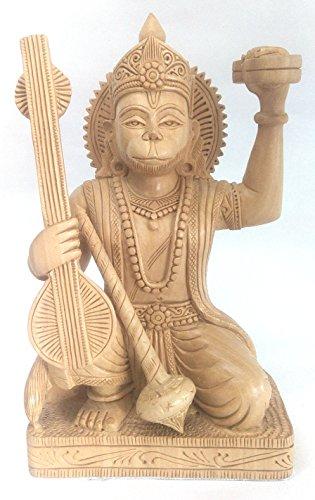 Hanuman Statue Hindu Monkey God Kadam Wood Hand Carved Rare 6 inch Tall