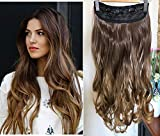 20 Inches Wavy 3/4 Full Head Clip in Hair Extensions Ombre One Piece 2 Tones (Chocolate brown/Dark Blonde) DL