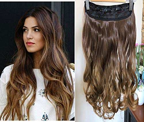 - 20 Inches Wavy 3/4 Full Head Clip in Hair Extensions Ombre One Piece 2 Tones (Chocolate brown/Dark Blonde) DL