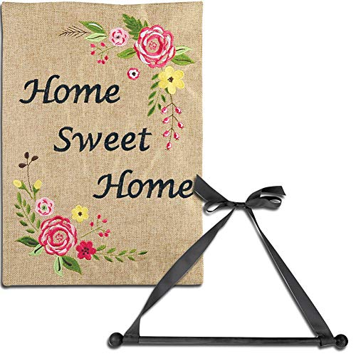 et) Home Sweet Home Burlap Garden Flag with Black Wood Wall Hanger and Bow ()