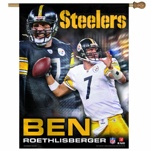 NFL Pittsburgh Steelers Ben Roethlisberger 27-by-37-Inch Vertical Flag
