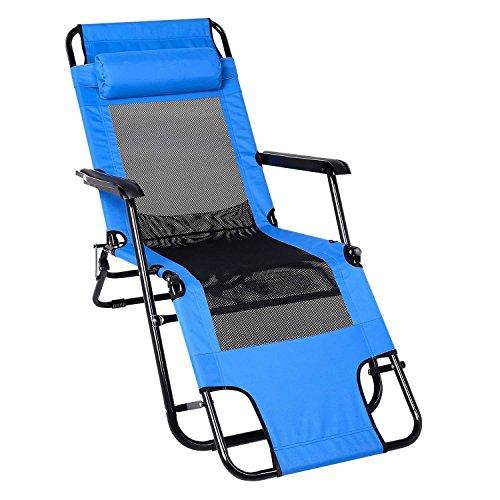 Beyove Folding Chair Lounge Sun Outdoor Fishing Arm Rest Beach Camping...