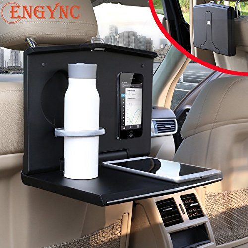 Car Laptop Mount, Foldable Vehicle Backseat Ipad Stand Holder for Kids Toy Bottles Storage and Mobile Office Dining Drink Eating Desk On Trucks/Vans/ (Mobile Office Vehicle)