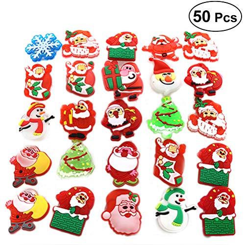 Toyvian Christmas Flashing Brooch Pins LED Brooch Kids Party Supplies Flashing Light Brooch - 50PCS (Style Mixed)