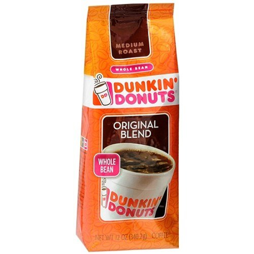 Dunkin' Donuts Original Blend Medium Roast Whole Bean Coffee 12 Ounces (Original Medium Roast Blend)