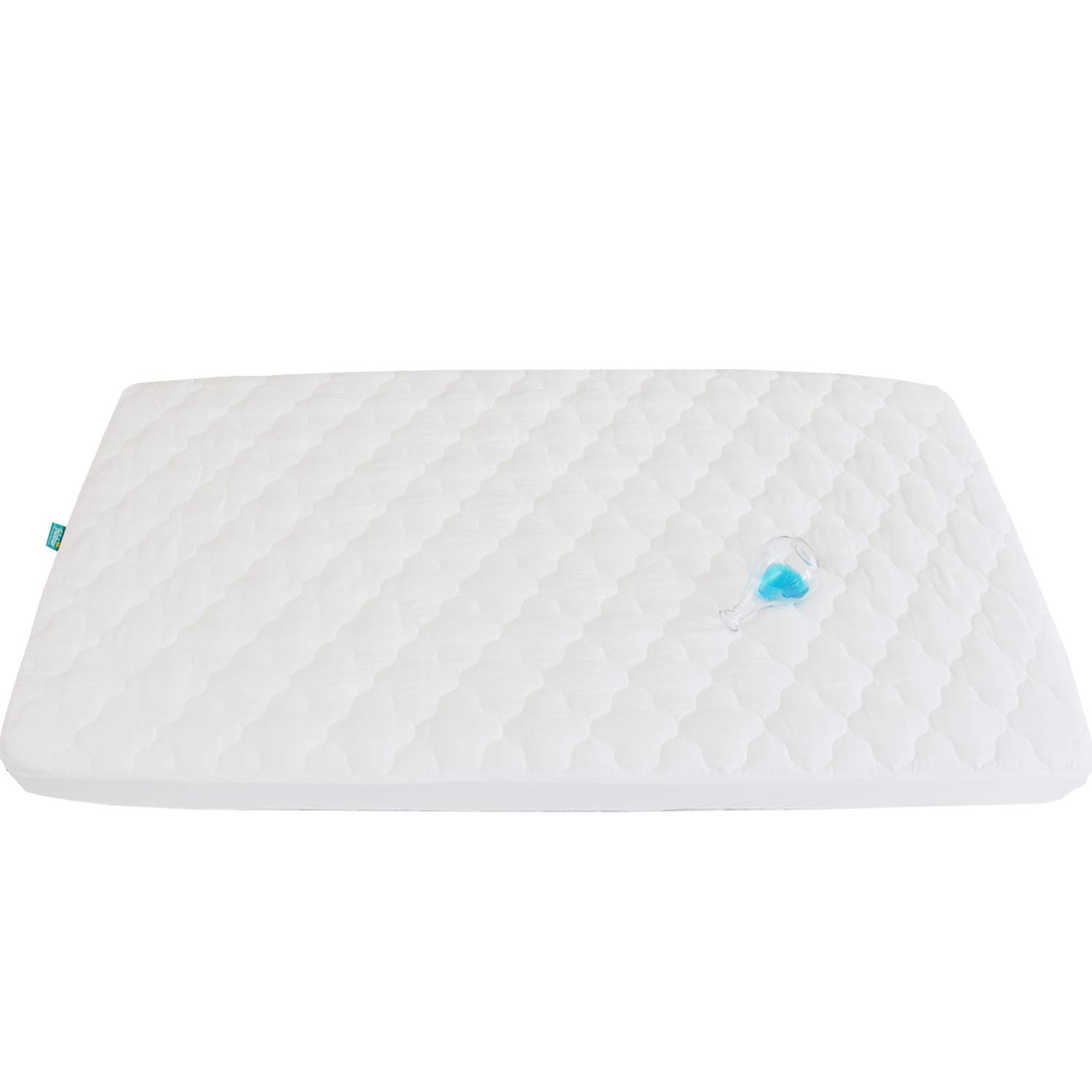 Pack N Play Waterproof Baby Crib Mattress Pad - 39'' x 27'' Fitted Cover Protector for Mini & Portable Playard Mattresses - Hypoallergenic Ultra Soft Padding -White