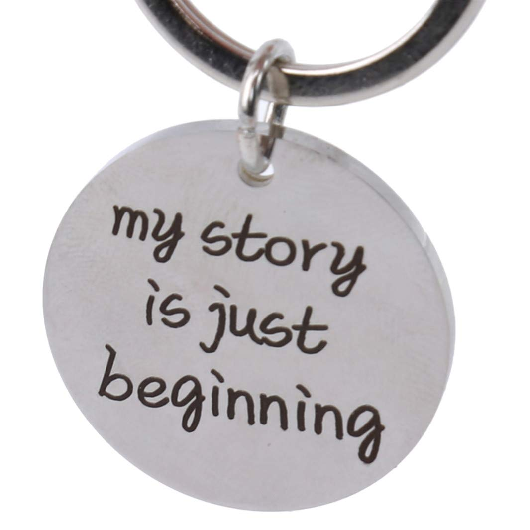 YouCY Graduate Keychain My Story is Just Beginning Keychain Graduation Ceremony Memorial Gift Women Men Keyring
