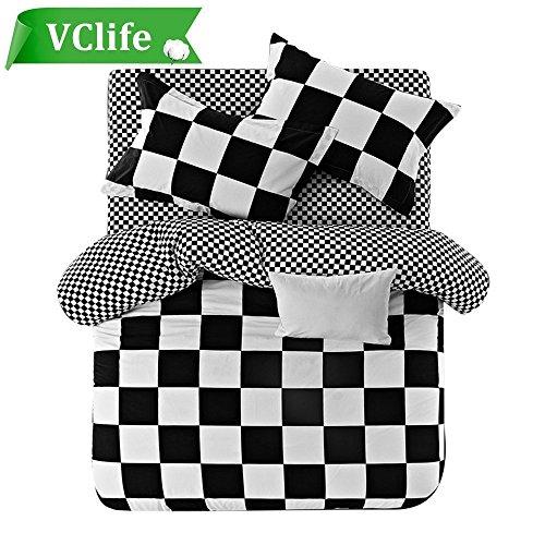 VClife Cotton Bedding Sets Geometric Checkered Duvet Cover Sets (104