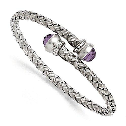 En argent sterling et améthyste CZ Bracelet jonc tressé flexible