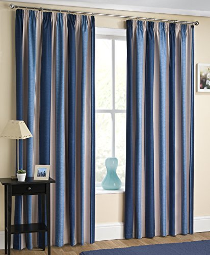 Navy Blue Striped ,Thermal Lined Blockout - Pencil Pleat/Tape top - Enhanced Living Curtains -(T'LITE) (66 x 90) by Luxury Enhanced Living
