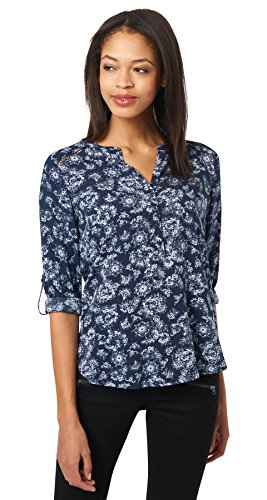 Tom Tailor für Frauen Shirt / Blouse Blusenshirt mit floralem Muster real navy blue 38