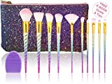#10: Unicorn Makeup Brushes Rainbow Colorful Premium Set with Synthetic and Vegan Bristles   Blending Foundation Eyeshadow   Mermaid Glitter Bag and Brush Cleaner   FREE E-Book   By UnicornLifestyle