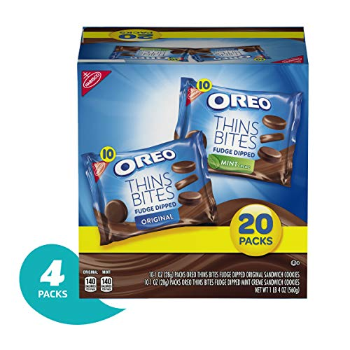 Chocolate Fudge Mint Cookies - OREO Thin Bites Cookies Fudge Dipped Original & Mint Creme Multipack, 4 20oz. packages