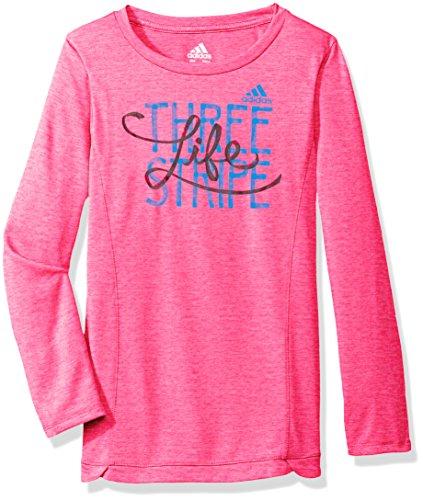 adidas Girls' Little' Long Sleeve Girly Tee Shirt, Solar Pink Heather, 5