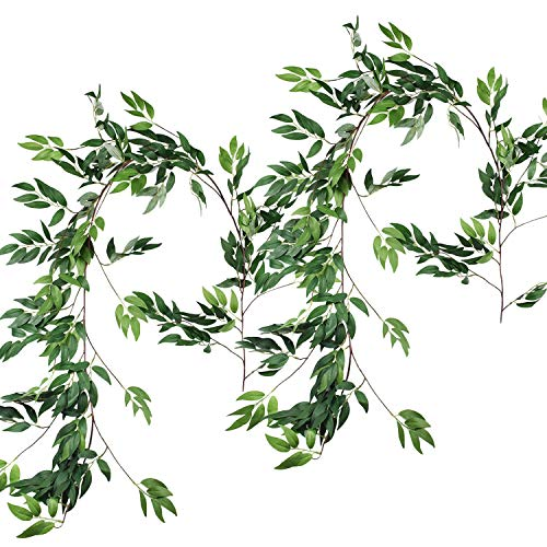 Plants Jungle Silk (Sunm boutique 2pcs Artificial Hanging Willow Leaves Vines Twigs Fake Silk Willow Plant Leaves Garland String in Green for Indoor/Outdoor Wedding Decor Jungle Party Supplies Greenery Crowns Wreath)