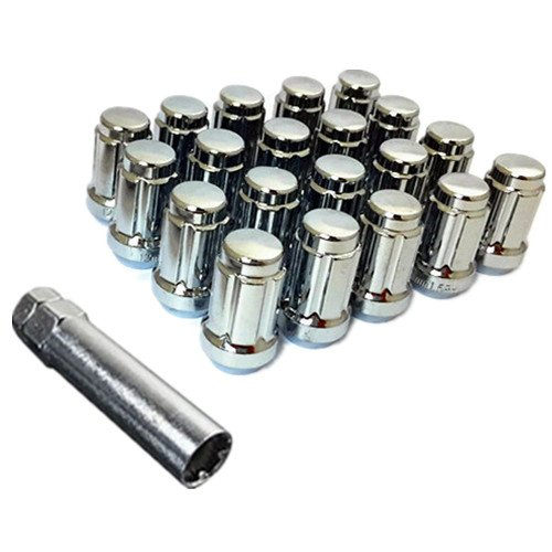 UPGR8 S-Series 20 Pieces Steel Closed Ended Wheel Lug Nuts with Key (M12 X 1.5MM, Chrome) ()